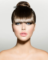 Fringe. Fashion Model Girl With Trendy Hairstyle