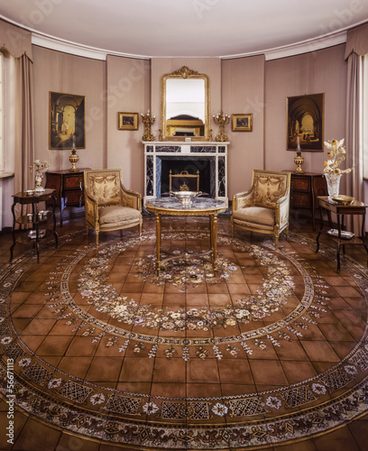 Italy, Rome, old luxury private house, fireplace room