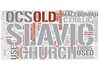 Old Church Slavonic Word Cloud Concept