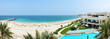 Panorama of the beach at luxury hotel, Fujairah, UAE