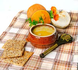 puree soup in ceramic bowl