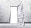 drawing concrete room with opened door