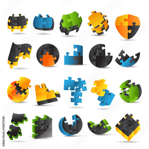 Puzzle Icons Set - Isolated On White Background
