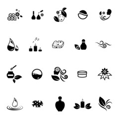 Spa Icons Set - Isolated On White Background - Vector