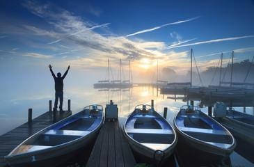 Happy sunrise at harbor