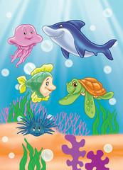 scene under the sea. sea animals and fish