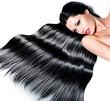 Beautiful woman with long black hair