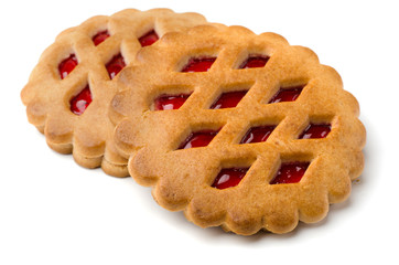 Two jam filled cookies