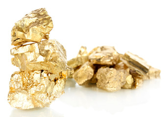 Golden nuggets isolated on white