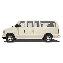 White Big Van Isolated