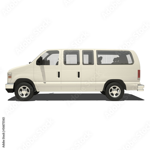 White Big Van Isolated