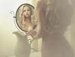Leinwanddruck Bild - Seductive woman in the mirror