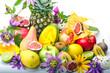Früchte-Vielfalt, freigestellt vor weißem Hintergrund