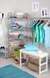 Women wardrobe in blue tones