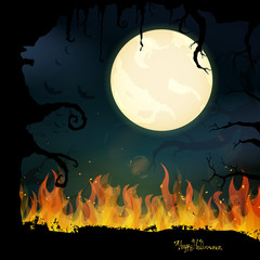 Vector Illustration of a Scary Halloween Background