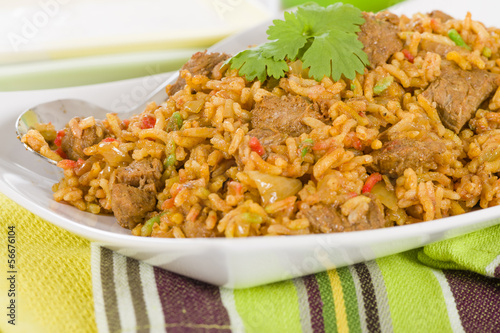 Mutton Byriani - Lamb and rice cooked with spices