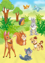 animaux mignons de bande dessinée dans la forêt