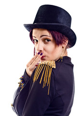 The actress of a cabaret imitates Charlie Chaplin