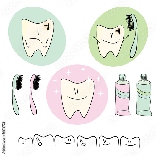 Icons, illustrations on the theme of dental care for children