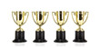 Four Gold Trophys on a white background