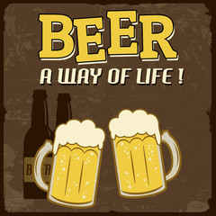 Beer, a way of life, vintage poster