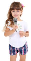 Little girl with microphone isolated on white