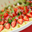 canvas print picture - Appetizers, gourmet food - canape with cheese and strawberries,