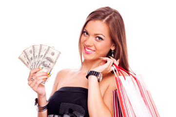 Young woman with Dollar bills and shopping bag