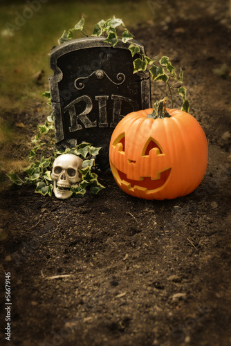 pumpkin and skull at grave