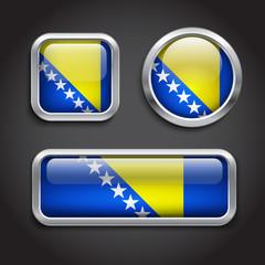 Bosnia Hercegovina  flag glass buttons