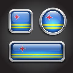 Aruba flag glass buttons