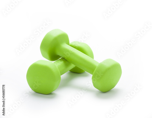 small green dumbbells,  isolated in white background