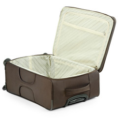 Empty suitcase isolated on white