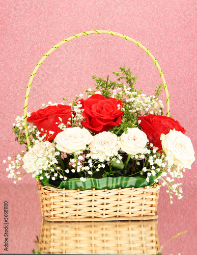 Beautiful flowers on pink background