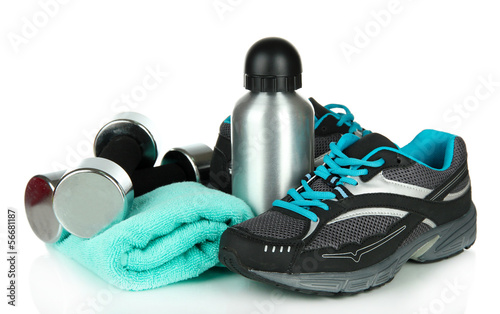 Different tools for sport isolated on white