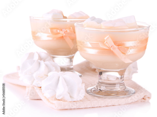 Tasty yogurt with marshmallows, isolated on white