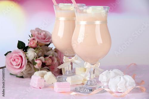 Tasty yogurt with marshmallows, close up