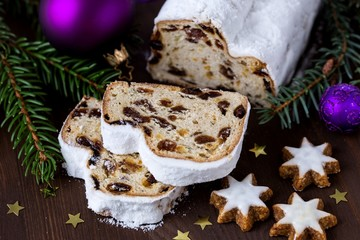 Christmas stollen and star-shaped biscuits
