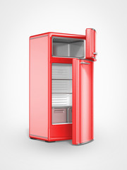 old vintage red refrigerator interior opened door