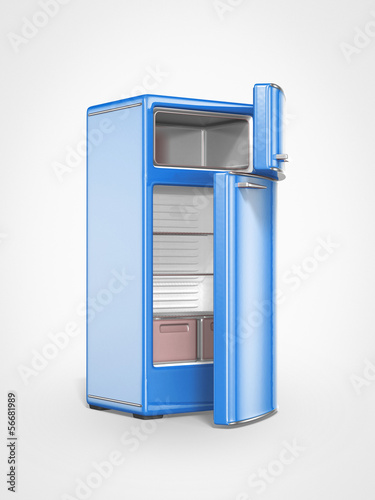 old vintage blue refrigerator interior opened door