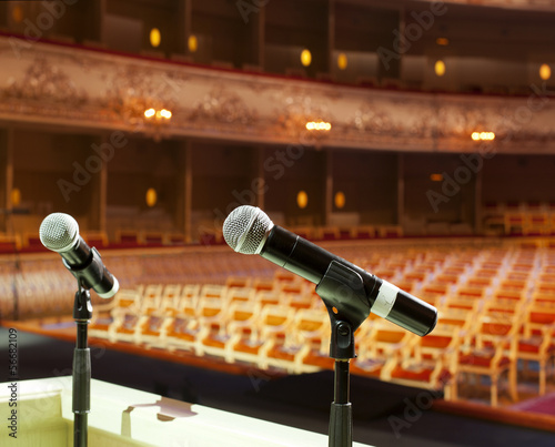 microphone on the background of the empty hall