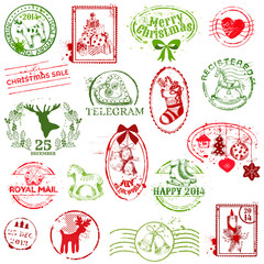 Christmas Stamp Collection -  for design, scrapbook, invitation