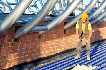 Engineer monitoring quality of construction works