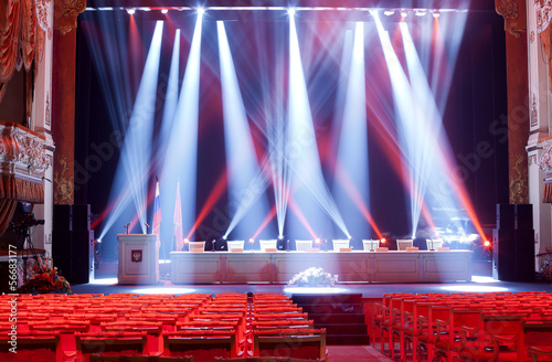 Bright beautiful rays of light on an empty stage