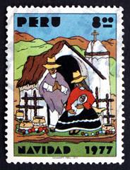 Postage stamp Peru 1977 Indian Nativity, Christmas