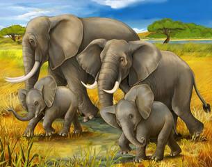 Safari - elephants - illustration for the children