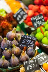 Colourful fruit,figs,market stall in Boqueria market,Barcelona