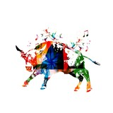 Colorful vector bull background with hummingbirds