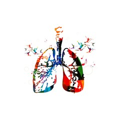 Colorful vector lungs background with hummingbirds