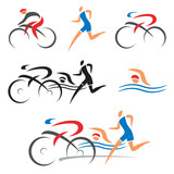 Fototapety Triathlon cycling fitness icons